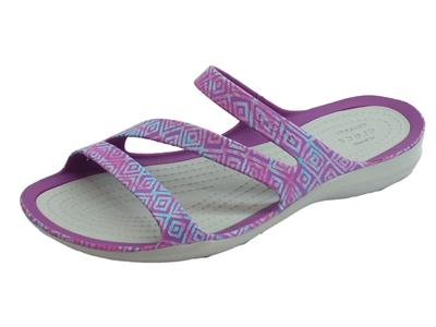 Sandali Crocs per donna SwiftWater Graphics in gomma viola e grigio