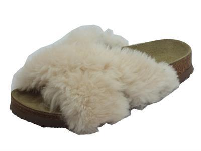 Articolo Sandali donna Papillio Daytona ricoperti in pellicciotto bianco