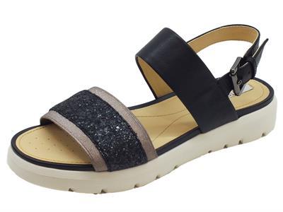 Sandali Geox per donna in pelle nera zeppa bassa