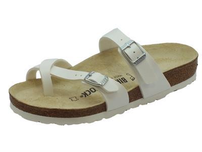 Sandali infra-alluce Birkenstock per donna sottopiede pelle bianca