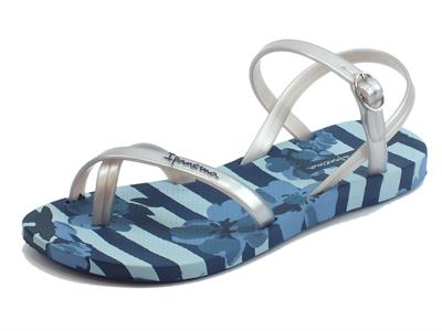 Sandali Ipanema Fashion Sand per donna in caucciù blu e argento zeppa bassa