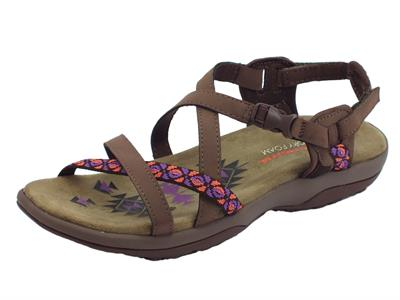 Articolo Sandali Vacay Skechers outdoor lifestyle in ecopelle marrone zeppa bassa