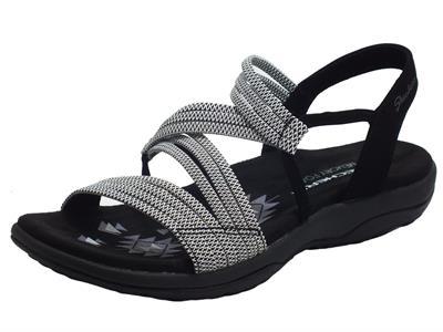 Articolo Skechers 41180/BKW Reggea Slim Appeal Black White Sandali Donna in tessuto elasticizzato