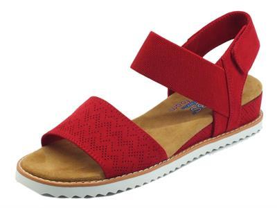 Articolo Skechers BOBS 31440 Desert Kiss Red Sandali per donna in tessuto rosso con memory