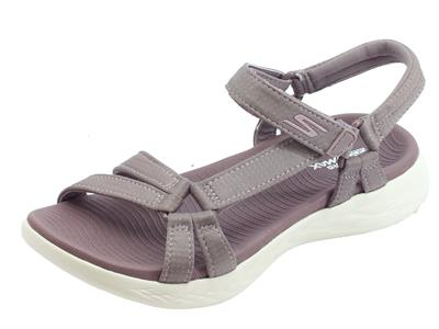 Skechers On-The-Go 600 Brillancy Light Mauve sandali sportivi per donna tessuto viola