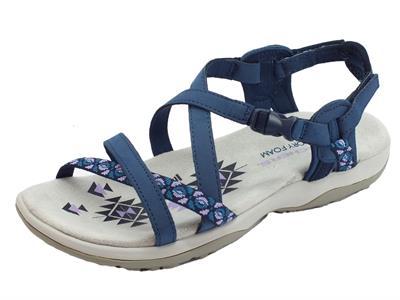 Articolo Skechers Outdoor LifeStyle Reggae Vacay Navy sandali sportivi per donna tessuto blu