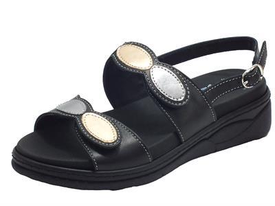 Articolo Susimoda 2939-13 Nero Antracite Sandali per Donna in pelle con doppia chiusura a strappo