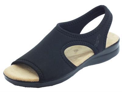 Susimoda sandali per donna in tessuto elasticizzato nero