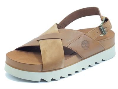 Articolo Timberland Santa Monica Sunrise Light Brown Sandali per Donna in pelle e zeppa media