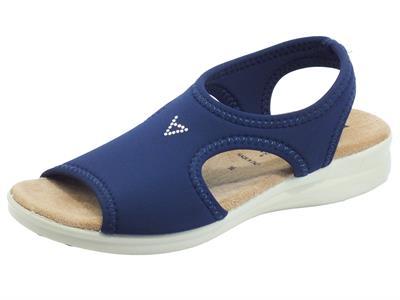 Articolo Valleverde 25322 Blu Sandali per Donna in tessuto elasticizzato blu zeppa bassa