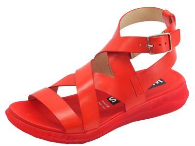 Articolo Wonders Pergamena sandali per donna in pelle rossa zeppa bassa