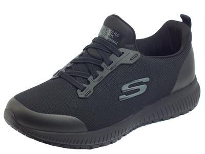 Articolo Skechers Work 77222EC/BLK Squad SR Black Slip-on sportivi per Donna in tessuto zeppa bassa