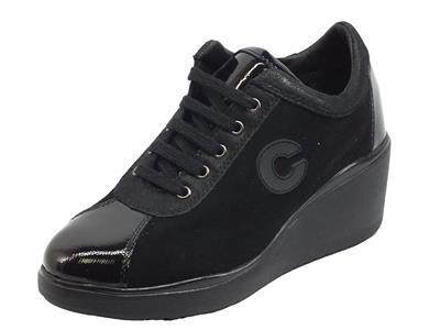 Articolo Cinzia Soft IV13895 Black Sneakers confort per Donna in nabuk e vernice con lacci e lampo