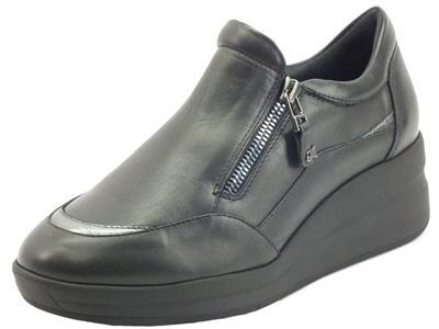 Articolo Melluso R25617A Nero Silvy Sneakers Confort per Donna in pelle con lampo