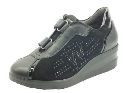 Melluso R25851A Nero Sneakers Confort per Donna in pelle con chiusura a strappo