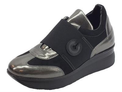 Sneakers Confort Cinzia Soft per donna in pelle nera e pelle grigia
