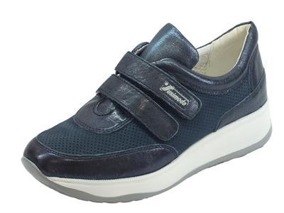Sneakers Susmoda in pelle e scamosciato colore bleu chiusura a strappo