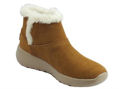 Dettagli su Tronchetti Skechers On The Go in camoscio marrone e fodera in eco pellicciotto b
