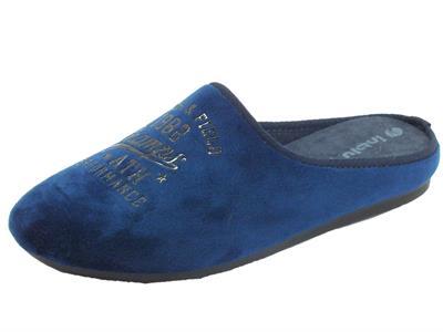 Articolo InBlu RP000014 Blu Pantofole Uomo tessuto blu sottopiede soft