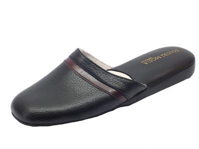 Pantofole da camera per uomo colore nero fodera in pelle