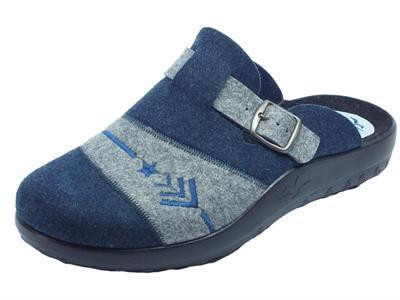 Pantofole Fly Flot per uomo in lana cotta blu e grigio sottopiede anatomico