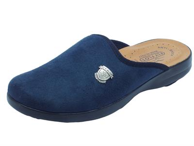 Pantofole Fly Flot per uomo in tessuto blu sottopiede in pelle