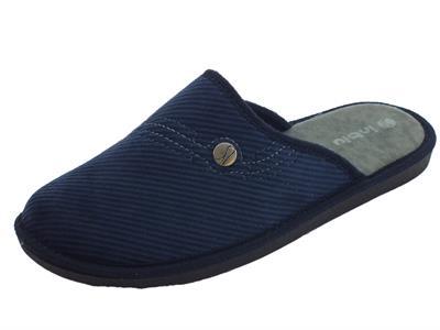 Articolo Pantofole Inblu per uomo in tessuto a costine blu sottopiede soft