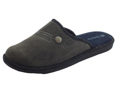 Articolo Pantofole InBlu per uomo in tessuto a costine grigio