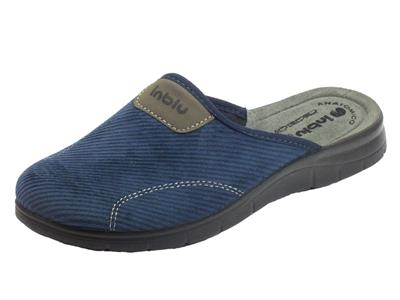Pantofole InBlu per uomo in tessuto blu sottopiede anatomico in pelle
