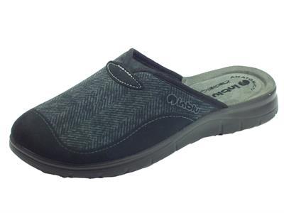Pantofole InBlu per uomo in tessuto nero sottopiede anatomico in pelle grigio