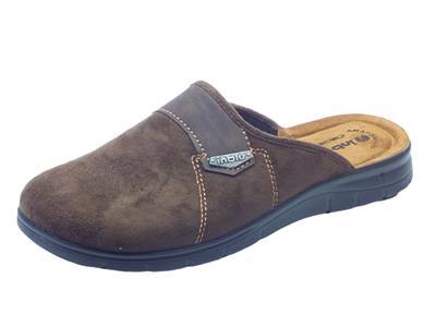 Pantofole per uomo in ecocamoscio testa di moro sottopiede in pelle