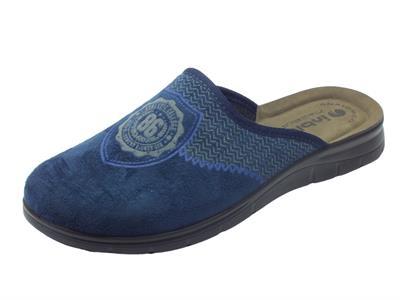 Articolo Pantofole per uomo InBlu College in tessuto blu sottopiede pelle anatomico