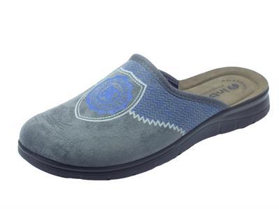 Articolo Pantofole per uomo InBlu College in tessuto grigio sottopiede pelle anatomico