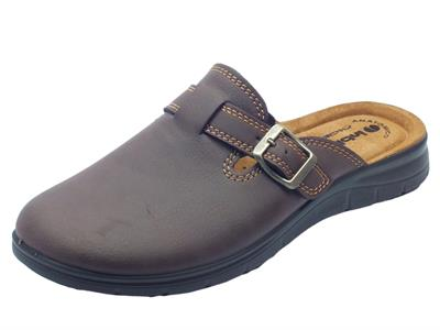 Pantofole per uomo InBlu colore marrone sottopiede pelle anatomico