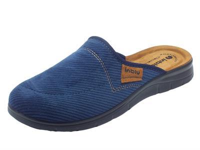 Pantofole per uomo InBlu in tessuto blu a costine sottopiede pelle soft anatomico