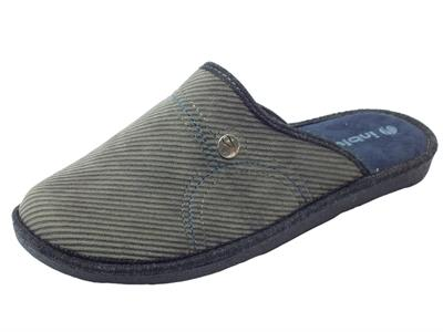 Pantofole per uomo InBlu in tessuto grigio sottopiede soft