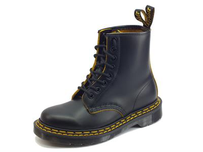 Dr Martens 1460 DS Black Yellow Smooth Slice Anfibi donna in pelle tacco basso
