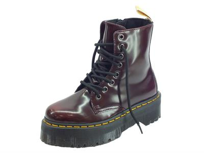 Articolo Dr. Martens V Jadon II Cherry Red Oxford Rub Off anfibi donna in pelle cherry red zeppa alta
