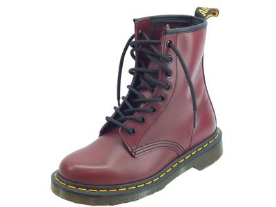 Dr. Martens Air Wair 1460 Cherry Red 10072600 Smooth anfibi donna in pelle  cuciture arancio