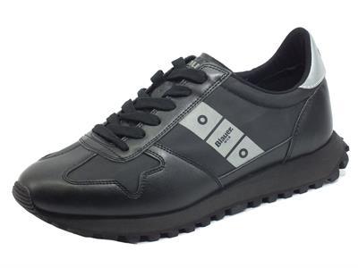 Articolo Blauer USA Dawson01 BBK Black Sneakers per Uomo in nabuk e tessuto nero