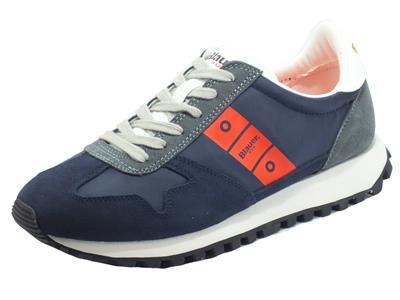 Articolo Blauer USA Dawson01 Nvo Navy Orange Sneakers per Uomo in nabuk e tessuto blu