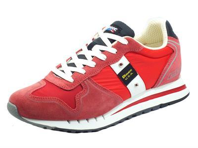 Articolo Blauer USA Quartz01 Red Sneakers per Uomo in nabuk e tessuto rosso