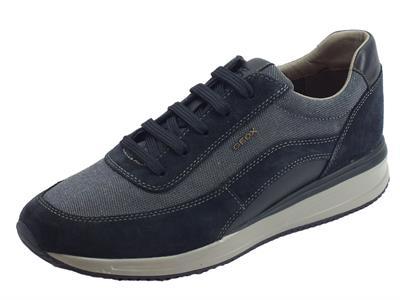 Articolo Geox U Dennie sneakers uomo in nabuk e tessuto blu sottopiede estraibile