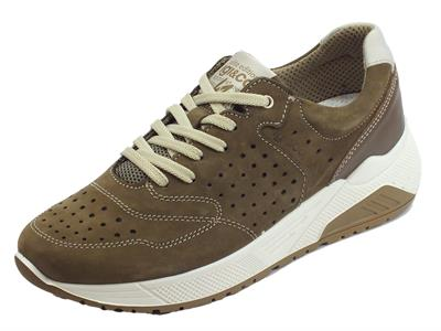 Igi&Co scarpe per uomo in nabuk traforato marrone fondo shock absorber alto