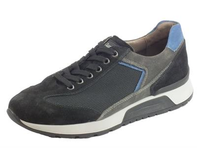Articolo NeroGiardini A901181U Camo. Colorado Nero Grey Sneakers Uomo in camoscio e tessuto