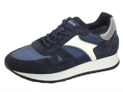 NeroGiardini I001760U Camoscio Sauvage Blu Scarpe sportive per uomo in camoscio e tessuto