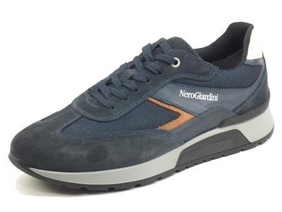Articolo NeroGiardini I102140U Camo Colorado Blu Sneaker Sportive per Uomo in camoscio e tessuto
