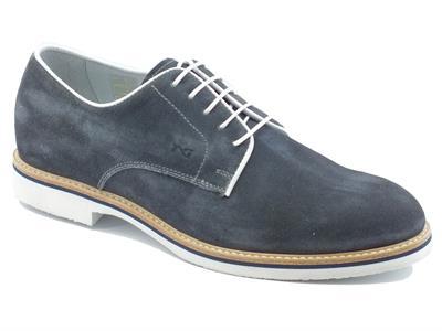 san francisco afb44 6ebea Dettagli su Scarpe per uomo NeroGiardini in camoscio blu e bianco