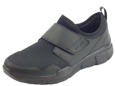 Scarpe Skechers RelaxedFIT BERNARE per uomo in tessuto nero chiusura a strappo