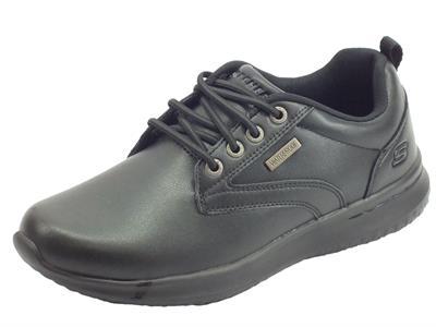 Skechers 65693/BBK Delson Antigo Black Scarpe in ecopelle Waterproof